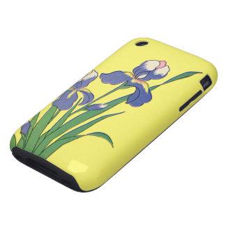 Vintage floral, iris púrpuras del jardín de la pri iPhone 3 tough fundas