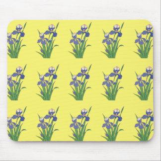 Vintage floral, iris púrpuras del jardín de la alfombrillas de raton