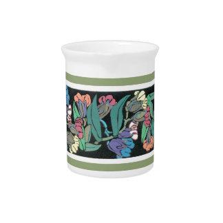 Vintage floral jarra de beber