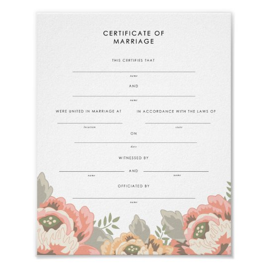 Vintage Floral Keepsake Marriage Certificate Poster  ZazzleCom