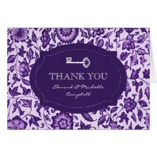 Vintage Floral & Key Thank You Card