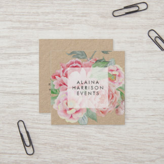 Vintage Floral Kraft Square Business Card
