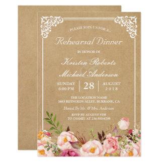 Vintage Floral Kraft | Wedding Rehearsal Dinner Card