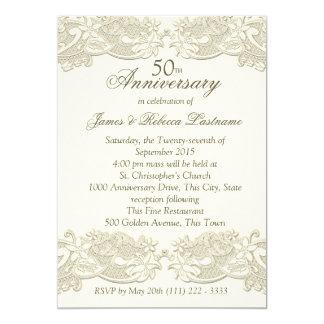 Vintage Floral Lace 50th Anniversary Invitation