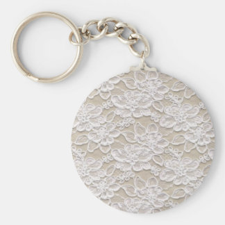 Vintage Floral Lace Basic Round Button Keychain