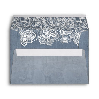 Vintage Floral Lace Dusty Blue Wedding Envelope