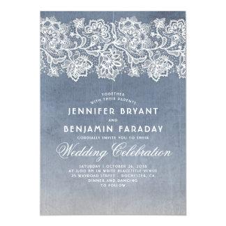 Vintage Floral Lace - Dusty Blue Wedding Invitation
