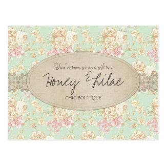 Vintage Floral Lace Gift Certificate Postcard