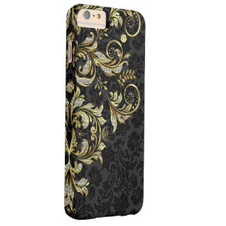 Vintage Floral Lace In Gold And Diamonds Glitter Barely There iPhone 6 Plus Case