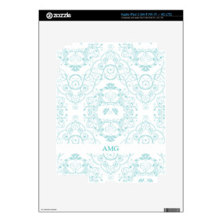 Vintage Floral Lace in Teal Pattern iPad 3 Decals