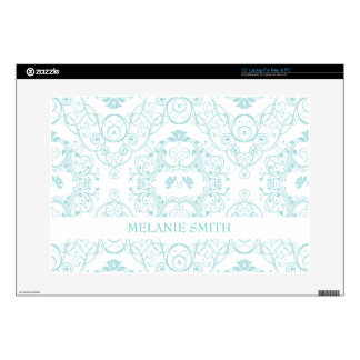 Vintage Floral Lace in Teal Pattern Laptop Decal
