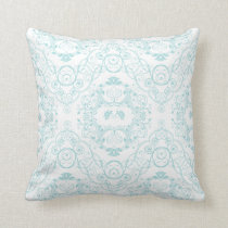 Vintage Floral Lace in Teal Pattern Throw Pillow