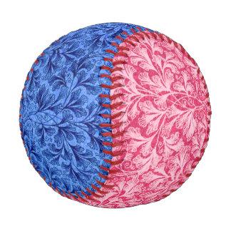 Vintage Floral Lace Leaf Blue and Red Baseball