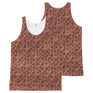 Vintage Floral Lace Leaf Coffee Brown All-Over Print Tank Top