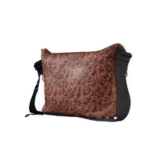 Vintage Floral Lace Leaf Coffee Brown Small Messenger Bag
