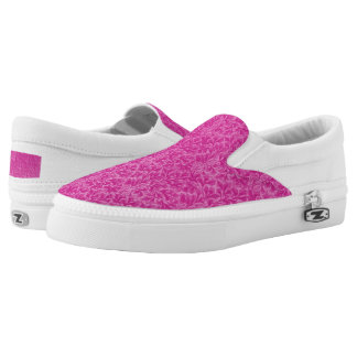 Vintage Floral Lace Leaf Fuchsia Pink Slip-On Sneakers