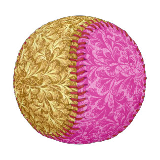 Vintage Floral Lace Leaf Hot Pink and Yellow Baseball