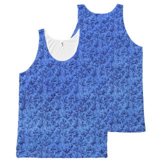 Vintage Floral Lace Leaf Sapphire Blue All-Over Print Tank Top