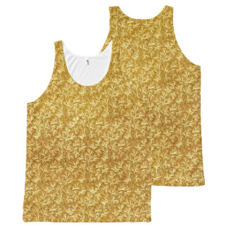 Vintage Floral Lace Leaf Yellow All-Over Print Tank Top