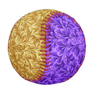 Vintage Floral Lace Leaf Yellow and Purple Baseball
