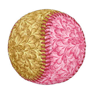 Vintage Floral Lace Leaf Yellow and Red Baseball