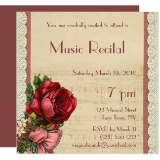 Music invitations announcements zazzle vintage floral lace music recital card thecheapjerseys Images