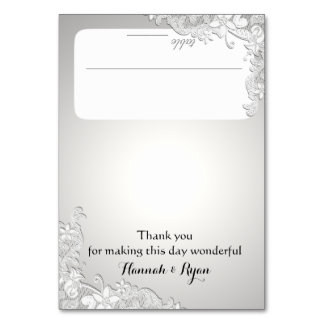 Vintage Floral Lace Silver Grey Seating Card Table Card