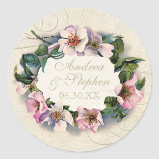 Vintage Floral Lace Wild Pink Rose Swirl Formal Classic Round Sticker