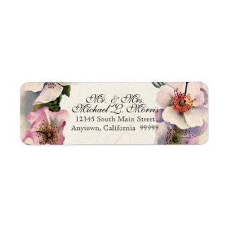 Vintage Floral Lace Wild Pink Rose Swirl Formal Return Address Label