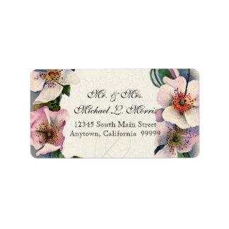 Vintage Floral Lace Wild Pink Rose Swirl Formal Address Label