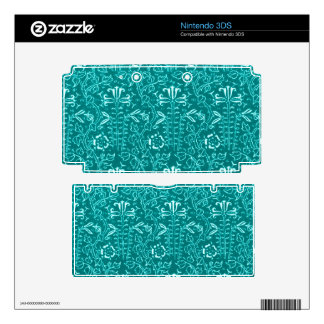 Vintage Floral Lapis Turquoise Teal Decal For The 3DS
