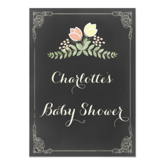 Vintage Floral Laurels Chalkboard Baby Shower Card