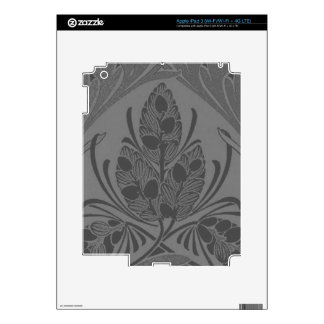 Vintage Floral Leaf Charcoal Decal For iPad 3