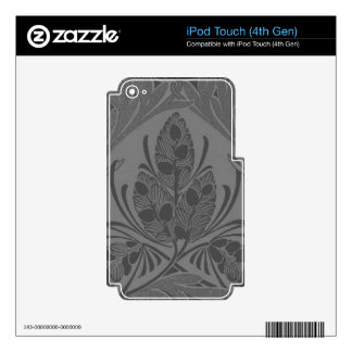 Vintage Floral Leaf Charcoal iPod Touch 4G Decals