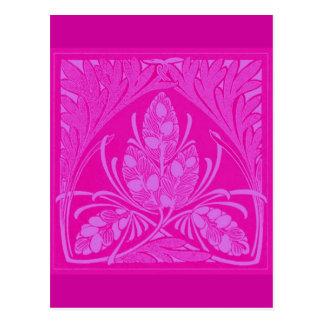 Vintage Floral Leaf Hot Pink Postcard