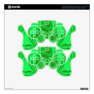 Vintage Floral Leaf Neon Green Decal For PS3 Controller