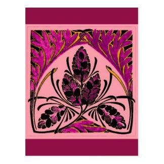 Vintage Floral Leaf Peach Pink Postcard