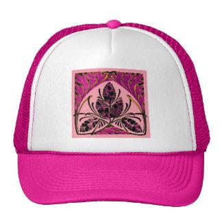 Vintage Floral Leaf Peach Pink Trucker Hat