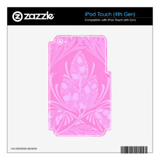 Vintage Floral Leaf Pink iPod Touch 4G Decal