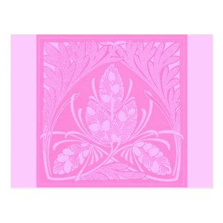 Vintage Floral Leaf Pink Postcard