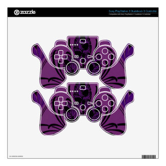 Vintage Floral Leaf Purple PS3 Controller Skins