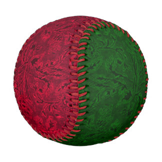 Vintage Floral Leaf Ruby Red and Emerald Green Baseball