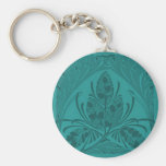 Vintage Floral Leaf Turquoise Keychain