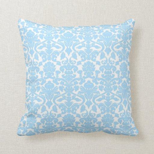 Vintage Floral Light Blue Damask Seal Pillow