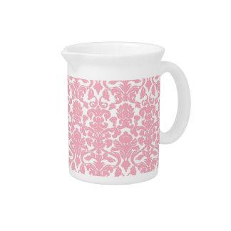 Vintage Floral Light Pink Damask Pitcher