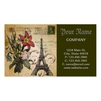 vintage floral lily paris eiffel tower business cards