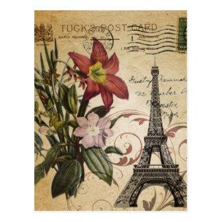 vintage floral lily paris eiffel tower postcard