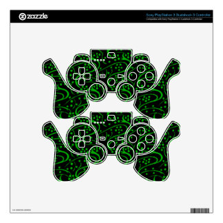 Vintage Floral Lime Black Decal For PS3 Controller