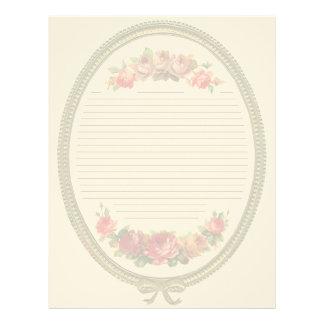 Vintage Floral Lined Letterhead Stationery