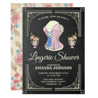 Vintage Floral Lingerie Bridal Shower Invitation